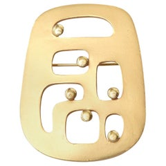 Eisenberg Gold Plated Modernist Abstract Pin Or Brooch