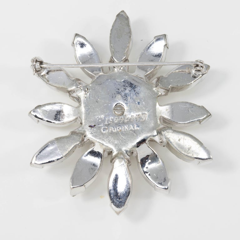 Retro Eisenberg Original Crystal Flower Star Pin Brooch in Silver, 1940s For Sale