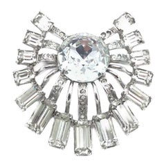 Large Eisenberg Original Sterling Silver Crystal 1940s Vintage Brooch