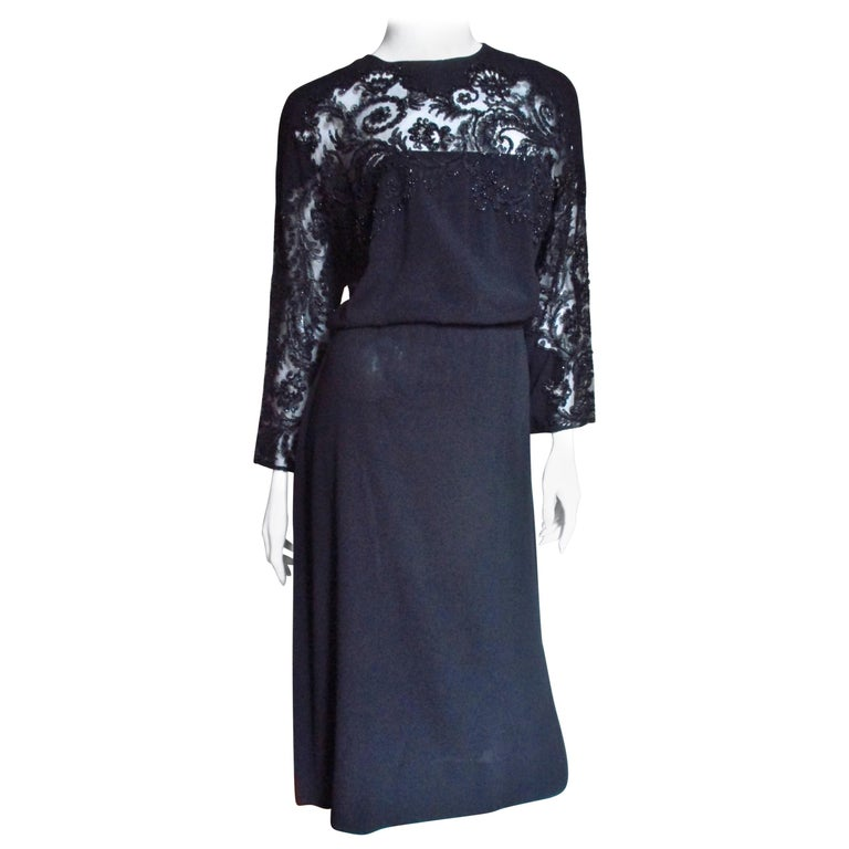Eisenberg Originals Beaded Lace Panel Dress 1940s For Sale