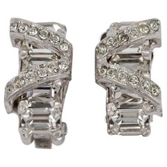 Eisenberg Silver Tone and Clear Rhinestone Clip On Earrings