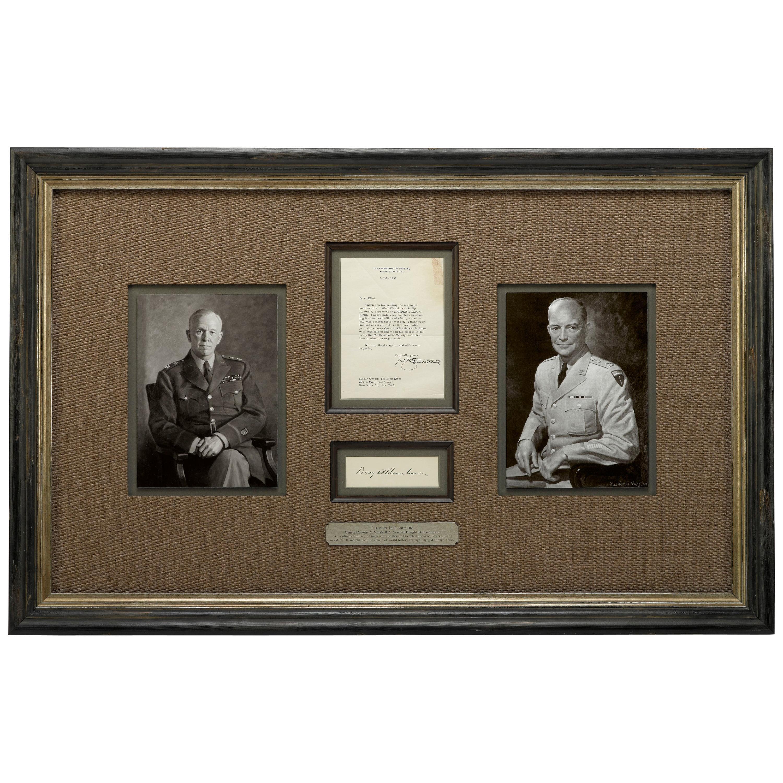 Eisenhower and Marshall Authentic Signature Collage