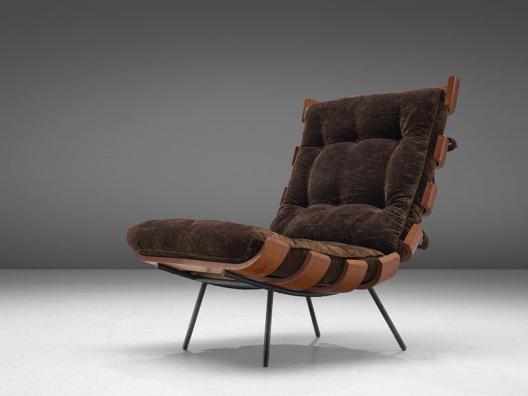 Mid-Century Modern Eisler and Hauner 'Costela' Chair in Teak and Brown Upholstery