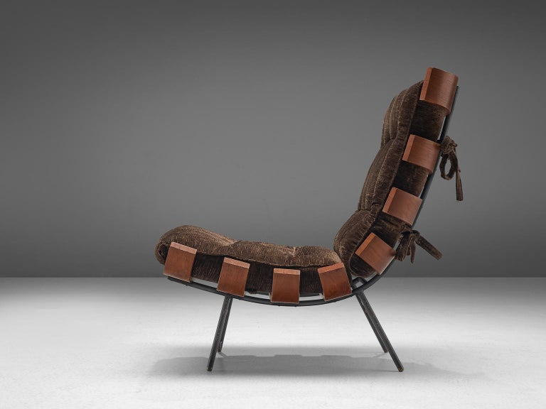 Brazilian Eisler and Hauner 'Costela' Chair in Teak and Brown Upholstery