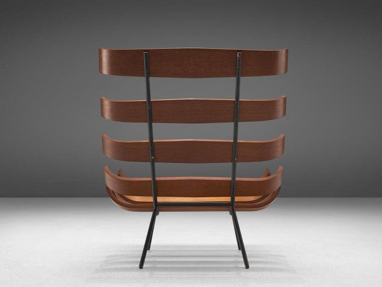 Eisler and Hauner 'Costela' Chair in Teak and Brown Upholstery In Good Condition In Waalwijk, NL