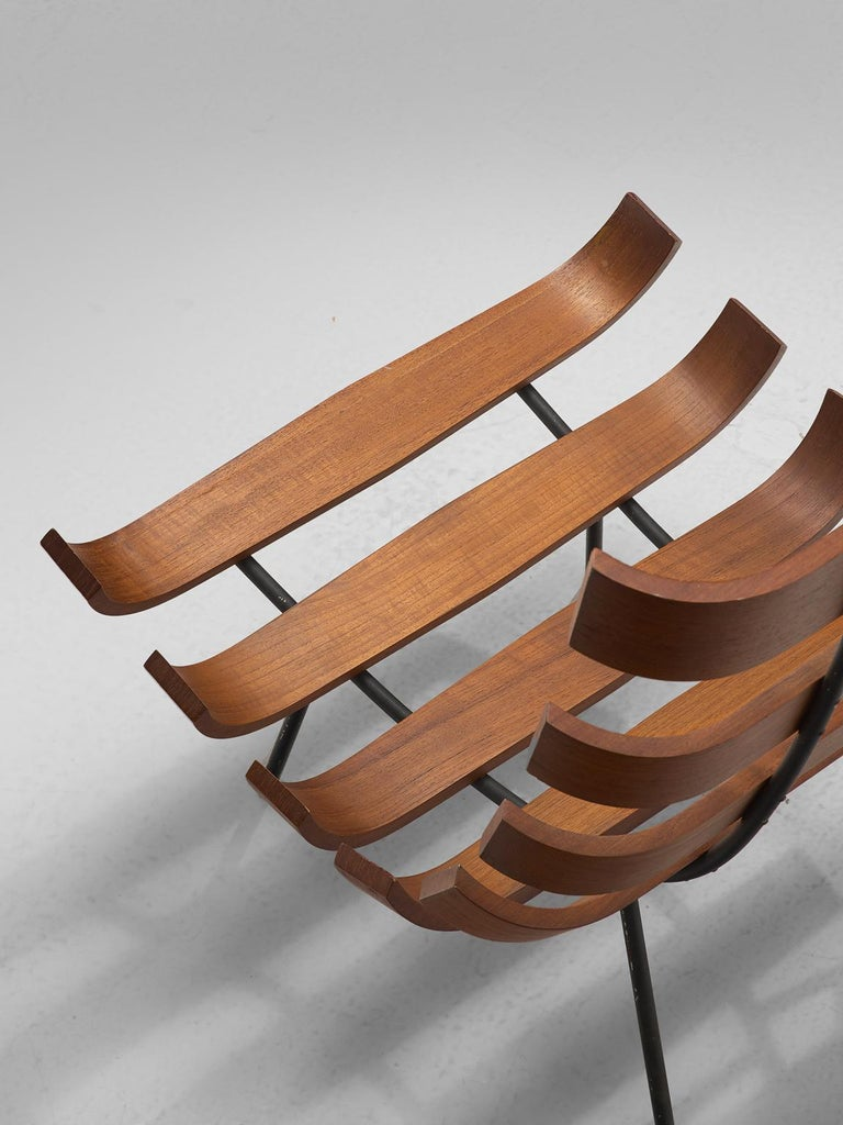 Mid-20th Century Eisler and Hauner 'Costela' Chair in Teak and Brown Upholstery