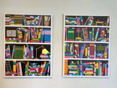 Book shelf Dyptich - abstract painting