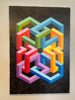 Homage to Vasarely and Escher - abstract painting