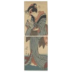 Eizan Kikugawa, Beauty and a Doll, Original Japanese Woodblock Print, Kimono