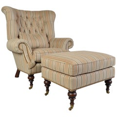 EJ Victor Louis XV Style Kensington Tufted Fireside Wing Lounge Chair & Ottoman