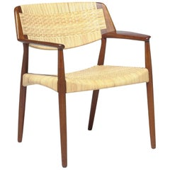 Ejnar Larsen & Bender Madsen Teak and Cane Chair Made by Willy Beck