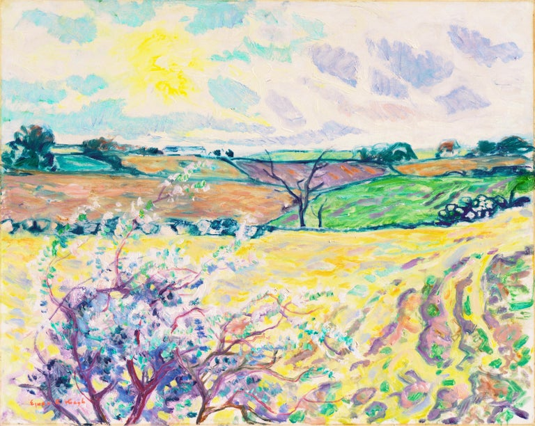 Ejnar Kragh Landscape Painting - 'Spring Landscape', Danish Post-Impressionist oil, Charlottenborg, Paris