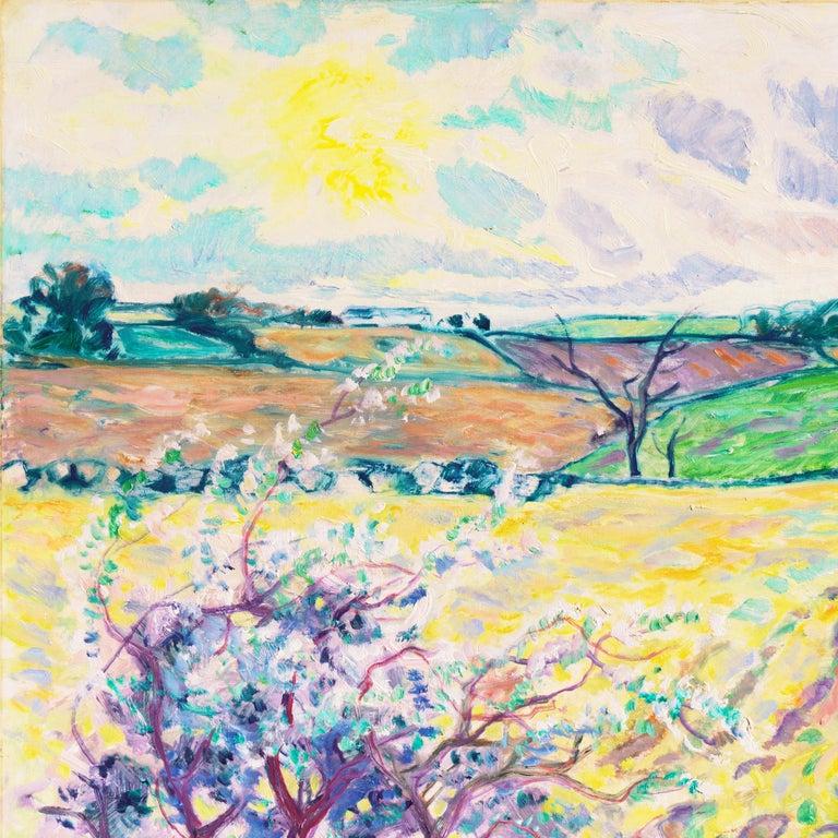 'Spring Landscape', Danish Post-Impressionist oil, Charlottenborg, Paris - Expressionist Painting by Ejnar Kragh