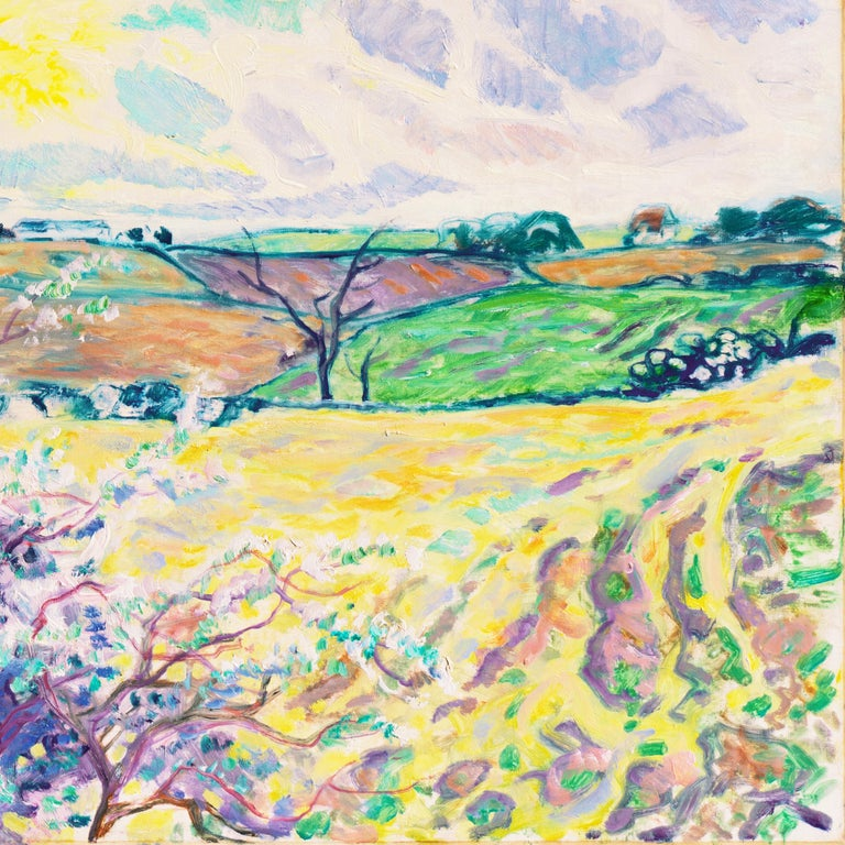 'Spring Landscape', Danish Post-Impressionist oil, Charlottenborg, Paris - Beige Landscape Painting by Ejnar Kragh