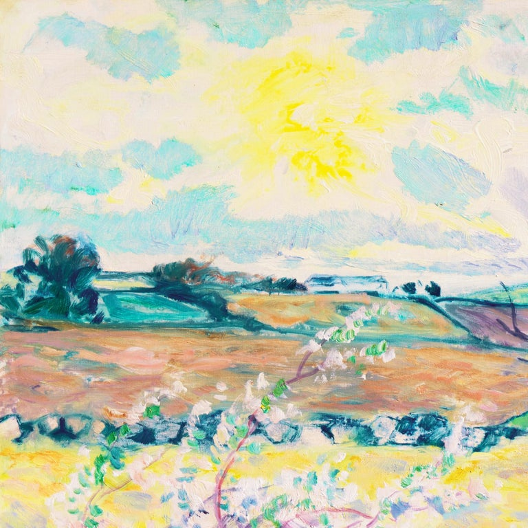 A substantial, sunlit landscape showing a fruit-tree in blossom in the foreground with verdant fields receding towards rolling hills beneath turquoise and lavender clouds.    Signed lower left,