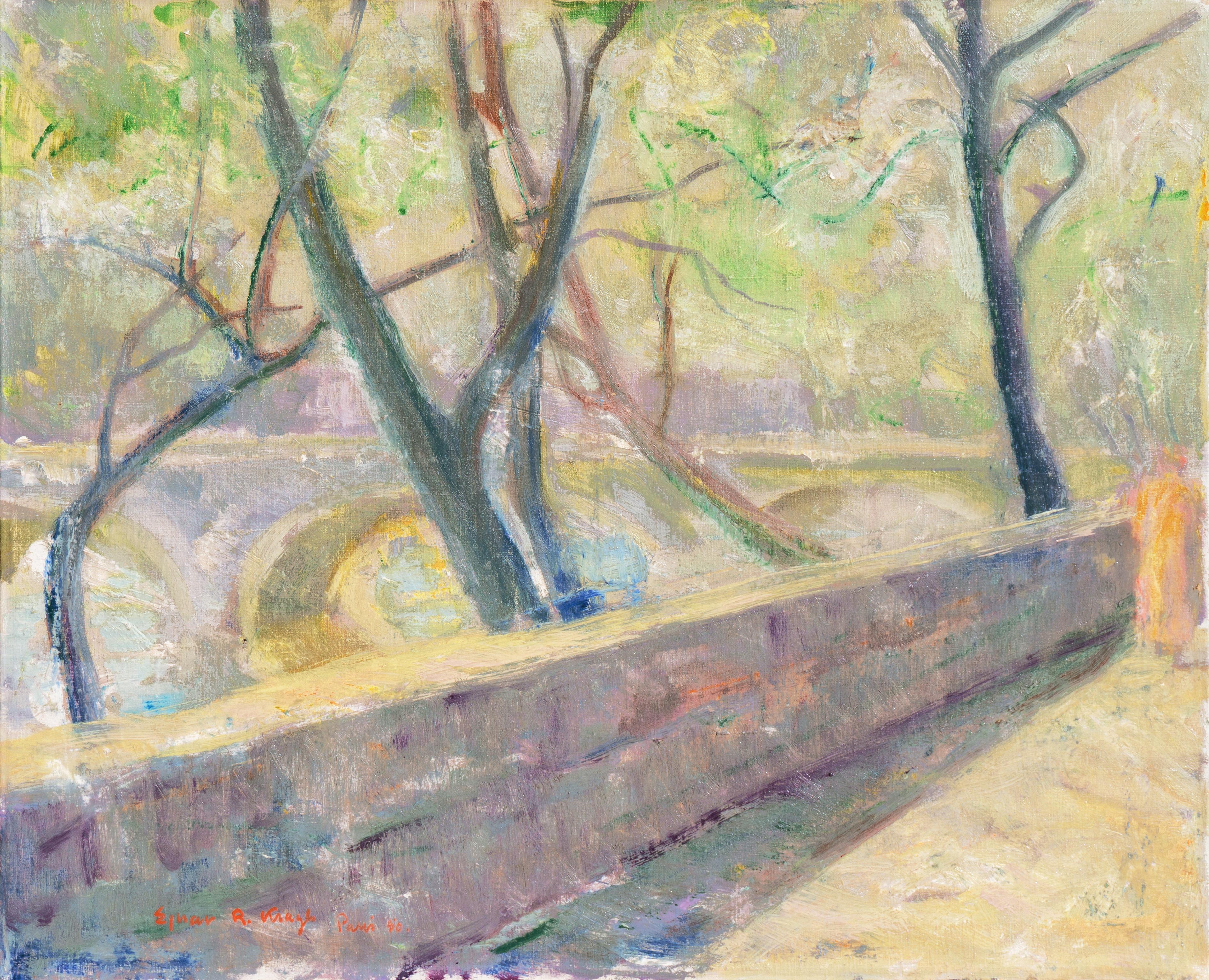 'Woman Walking Beside the Seine', Pont Neuf, Paris, French Post-Impressionist