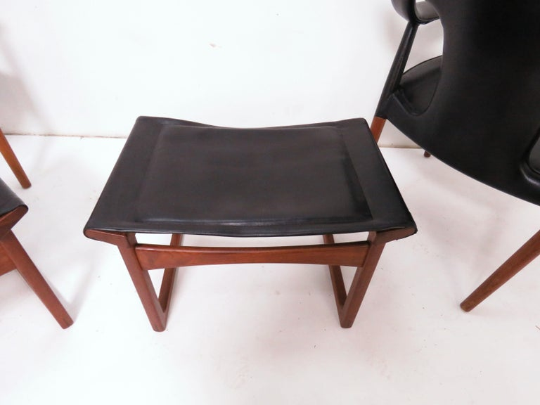 Ejner Larsen and A. Bender Madsen Danish Teak Lounge Chair and Ottoman Set For Sale 2
