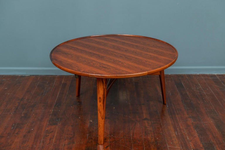 Ejner Larsen and Askel Bender Madsen coffee table for Willy Beck, Denmark. Perfectly refinished rosewood, labeled.