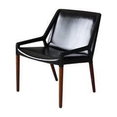 Ejner Larsen, Axel Bender Madsen, Rare Lounge Chair, Teak, Leather, 1951 Denmark
