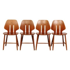 Ejvind A Johansson Set of Four Chairs for FDB Model No. J 67 Made of Oak, 1950s