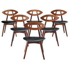 Ejvind A. Johansson Set of Six 'Eye' Dining Chairs