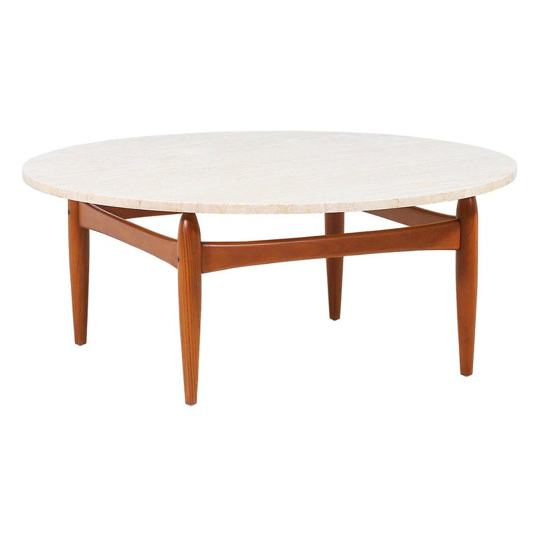 Ejvind A. Johansson Travertine and Teak Round Coffee Table For Sale