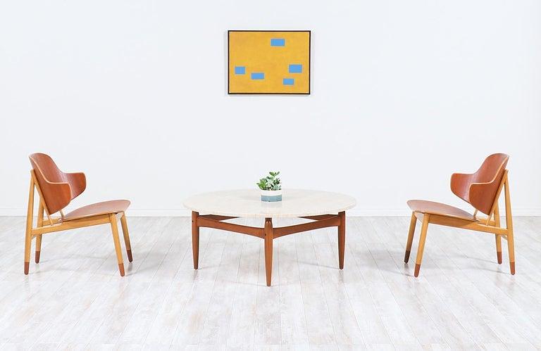 Mid-Century Modern Ejvind A. Johansson Travertine and Teak Round Coffee Table For Sale