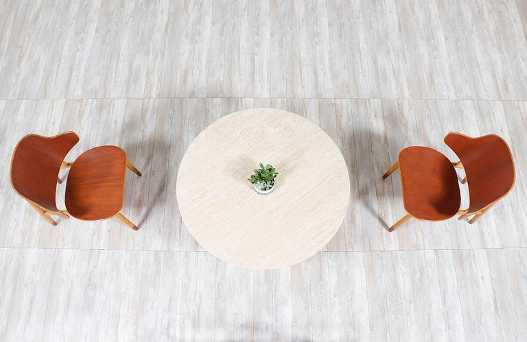 Mid-20th Century Ejvind A. Johansson Travertine and Teak Round Coffee Table For Sale