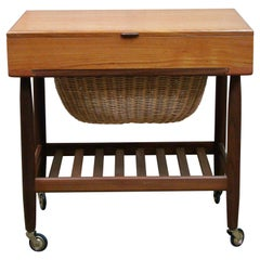 Ejvind Johansson Teak and Walnut Sewing Cabinet with Wicker Yarn Basket Denmark