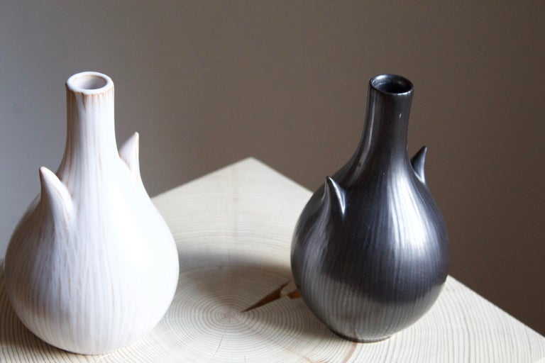 Mid-Century Modern Ejvind Nielsen, Freeform Vases, Glazed Stoneware, Artists Studio, Denmark, 1950s For Sale