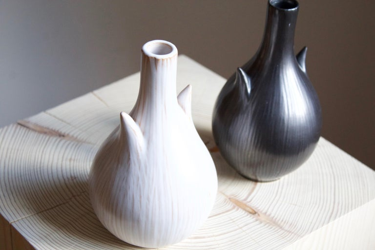 Danish Ejvind Nielsen, Freeform Vases, Glazed Stoneware, Artists Studio, Denmark, 1950s For Sale