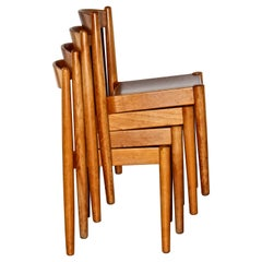 "E.K.Agustsson ""Stapelstol USA-1"" 4 Birch Stacking Chairs Swedish Modern"