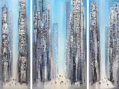 City Dreaming (Triptych) - Large Original Oil Painting