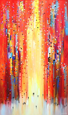 Red Sky - Colorful Textural Original Oil Painting on Canvas