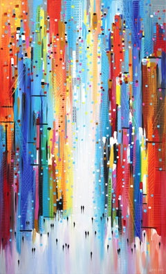 Sunny Afternoon - Colorful Textural Original Oil Painting on Canvas
