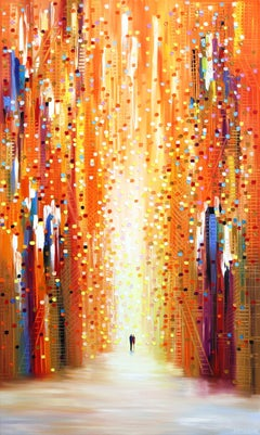 Sunset For Us - Colorful Textural Original Oil Painting on Canvas