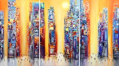 Sunset (Triptych) - Large Original Oil Painting