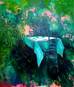 A Table for Me, Large textured oil painting, bright palette with flora & flowers