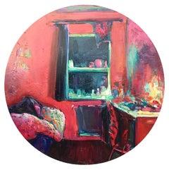 Manabraut II, round oil on canvas, impressionist interiors, red, bedroom, window
