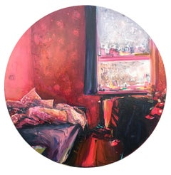 Manabraut, round oil painting, impressionist interiors, red pink bedroom, window