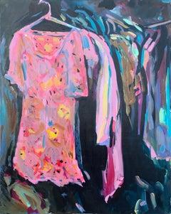 Summer Dress, oil on canvas, impressionist interiors, closet, bright pink, blue