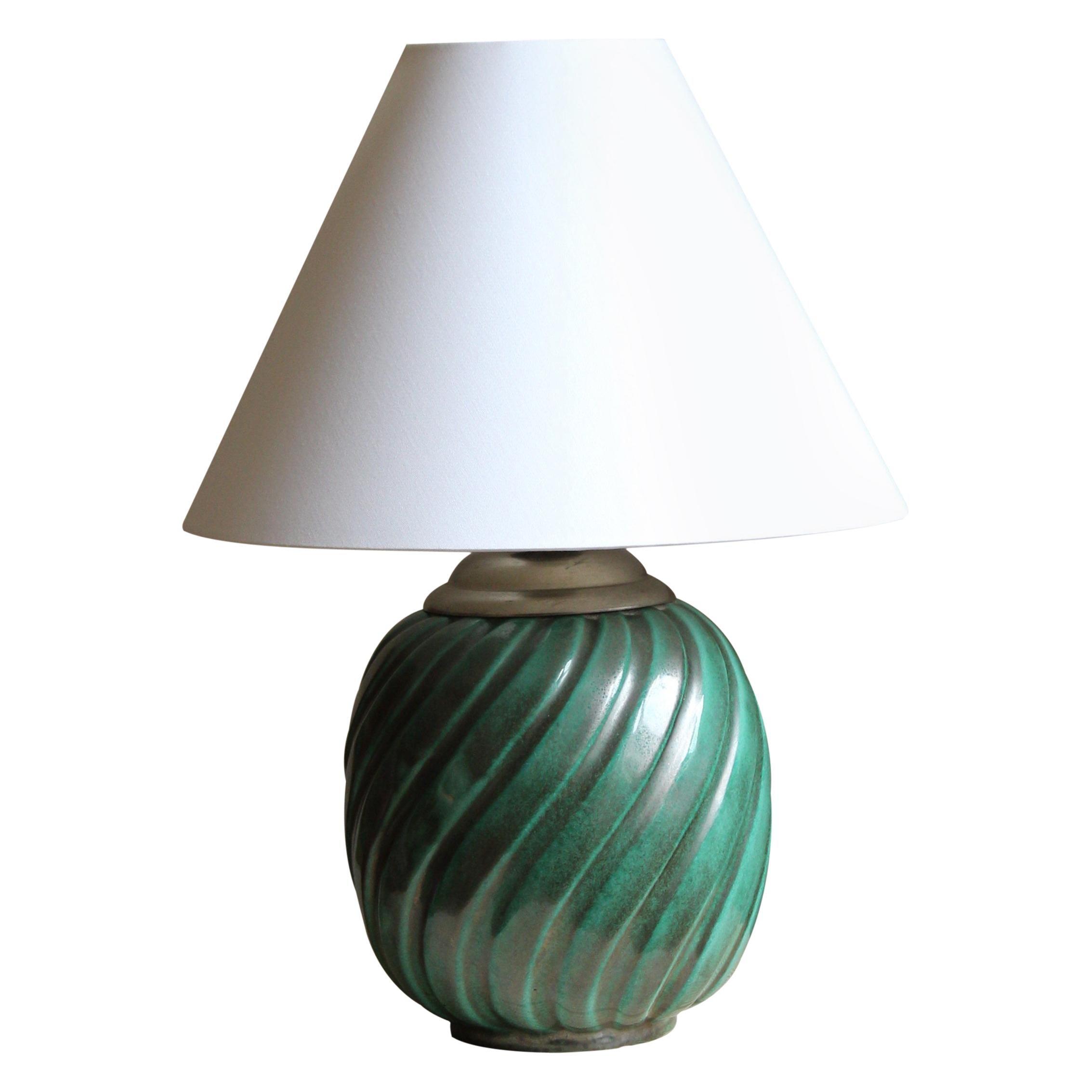 Ekeby, Rare Organic Table Lamp, Green-Glazed Stoneware, Sweden, 1930s