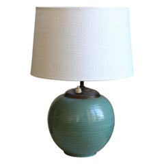 Ekeby, Rare Table Lamp, Green-Glazed Stoneware, Brass, Linen, Sweden, 1930s