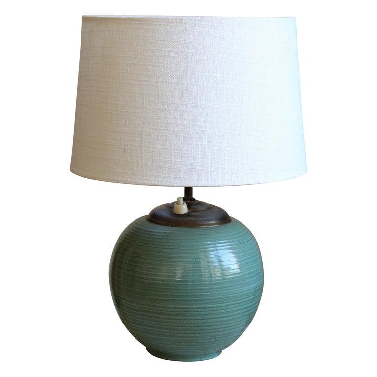 Ekeby, Rare Table Lamp, Green-Glazed Stoneware, Brass, Linen, Sweden, 1930s For Sale