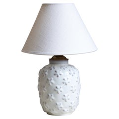 Ekeby, Small Table Lamp, Glazed Ceramic, Brass, Sweden, 1930s