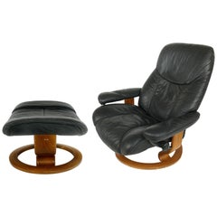 Ekornes Reclining Leather Lounge Chair with Ottoman, Norway