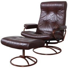 Ekornes Stressless Brown Leather Lounge Chair and Ottoman