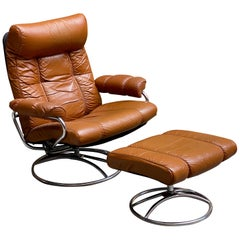 Ekornes Stressless Butterscotch Leather Lounge Chair and Ottoman