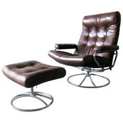 Ekornes Stressless Chair and Ottoman, 1970s