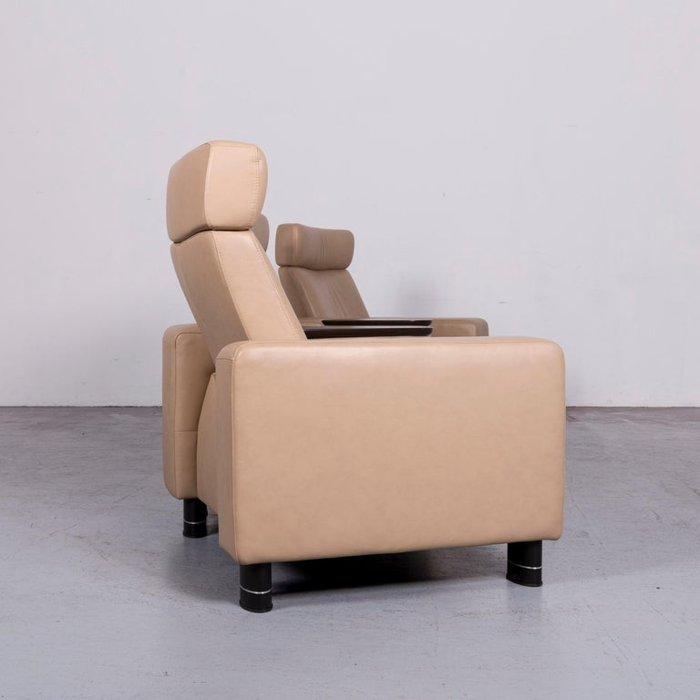 Ekornes Stressless Designer Leather Sofa Beige Four-Seat Recliner Couch  6